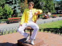 'Freddie' sitting on a chair monument form a classic satirical novel by the Soviet authors Ilf and Petrov 'The Twelve Chairs'
